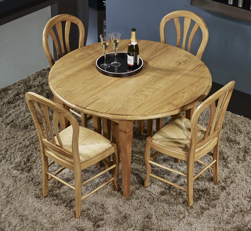 Table ronde Bastien DIAMETRE 110  en chêne massif de style Louis Philippe 8 allonges de 40 cm PLATEAU FIXE