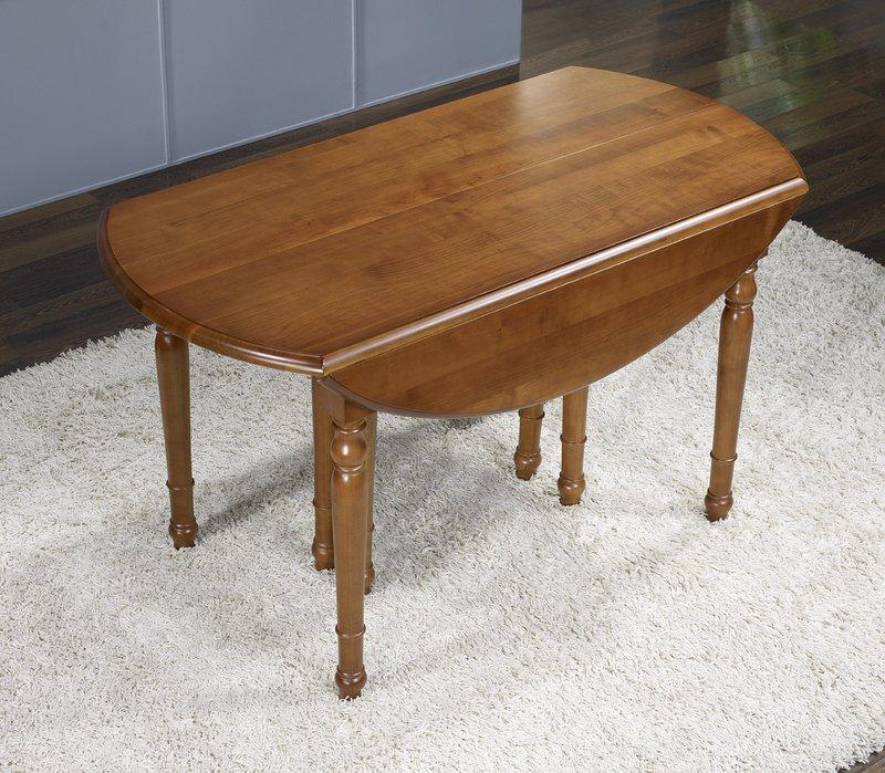 Table Ovale A Volets 135x110 Realisee En Merisier De Style Louis