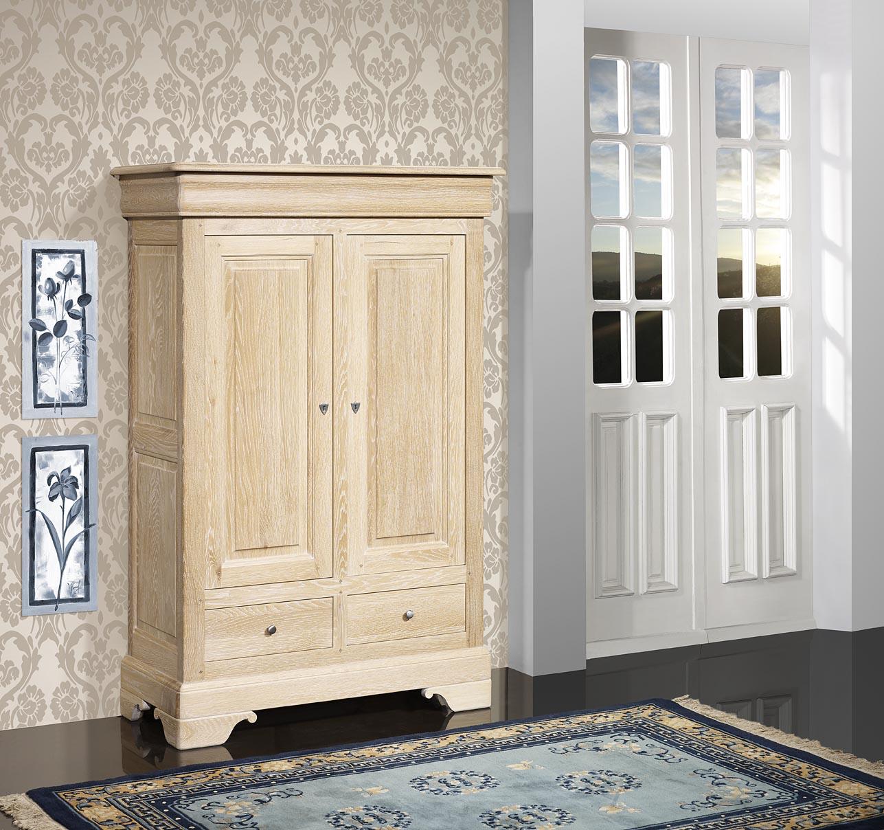 Bassette 2 portes 3 tiroirs  en Chêne Massif de style Louis Philippe Finition Chêne Brossé