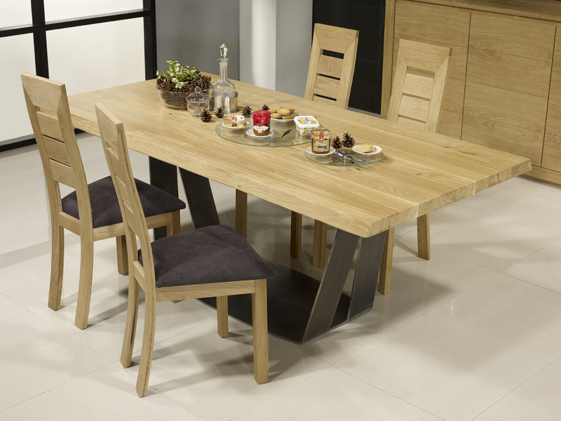 Table rectangulaire ndre  en Chêne et Métal EPAISSEUR DU PLATEAU 5 cm