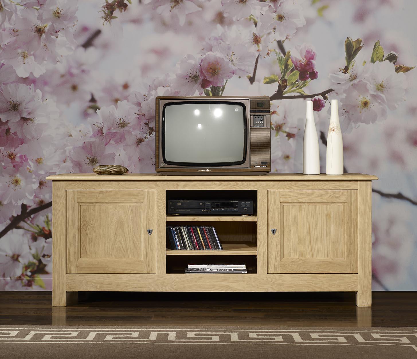 Meuble Tv 169eme Amaury Réalisé En Chêne Massif De Style Campagnard