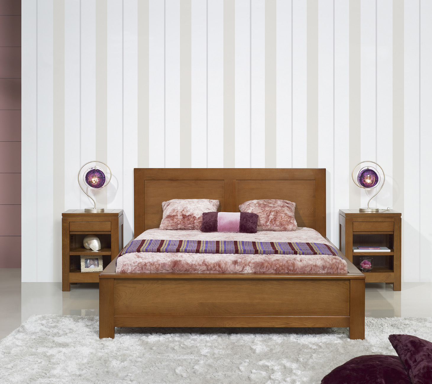 Lit collection nature 160 200 r alis en ch ne massif de - Chambre a coucher moderne en bois massif ...