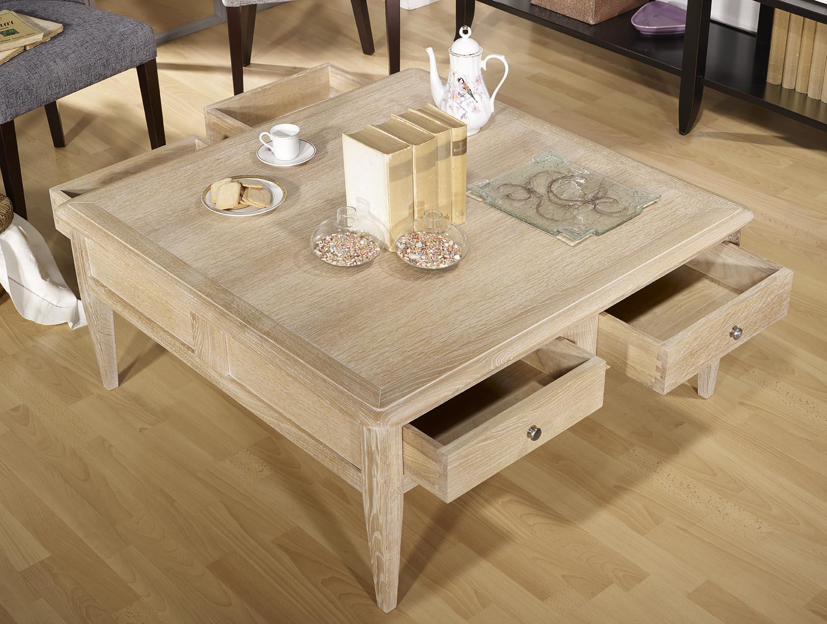 Table En Bois Chene Clair table basse carrée justin réalisée em chêne de style directoire