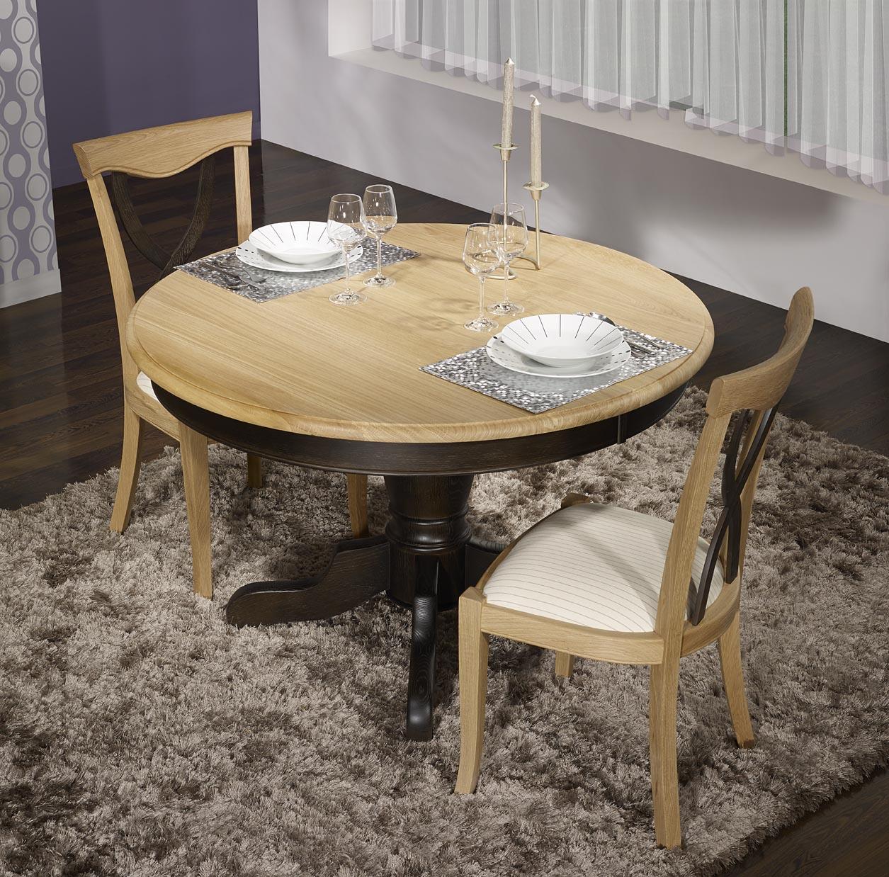 Table ronde pied central   en Chêne Massif de style Louis Philippe DIAMETRE 120 - 2 allonges de 40 cm Finition Chêne Brossé Naturel et Noir délavé