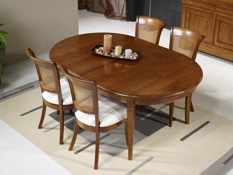 Table Ovale Julie 180x120  en Merisier Massif de style Louis Philippe avec 5 ALLONGES DE 40 CM