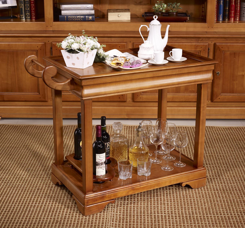 Table Desserte Roulante En Merisier De Style Louis Philippe Avec 1