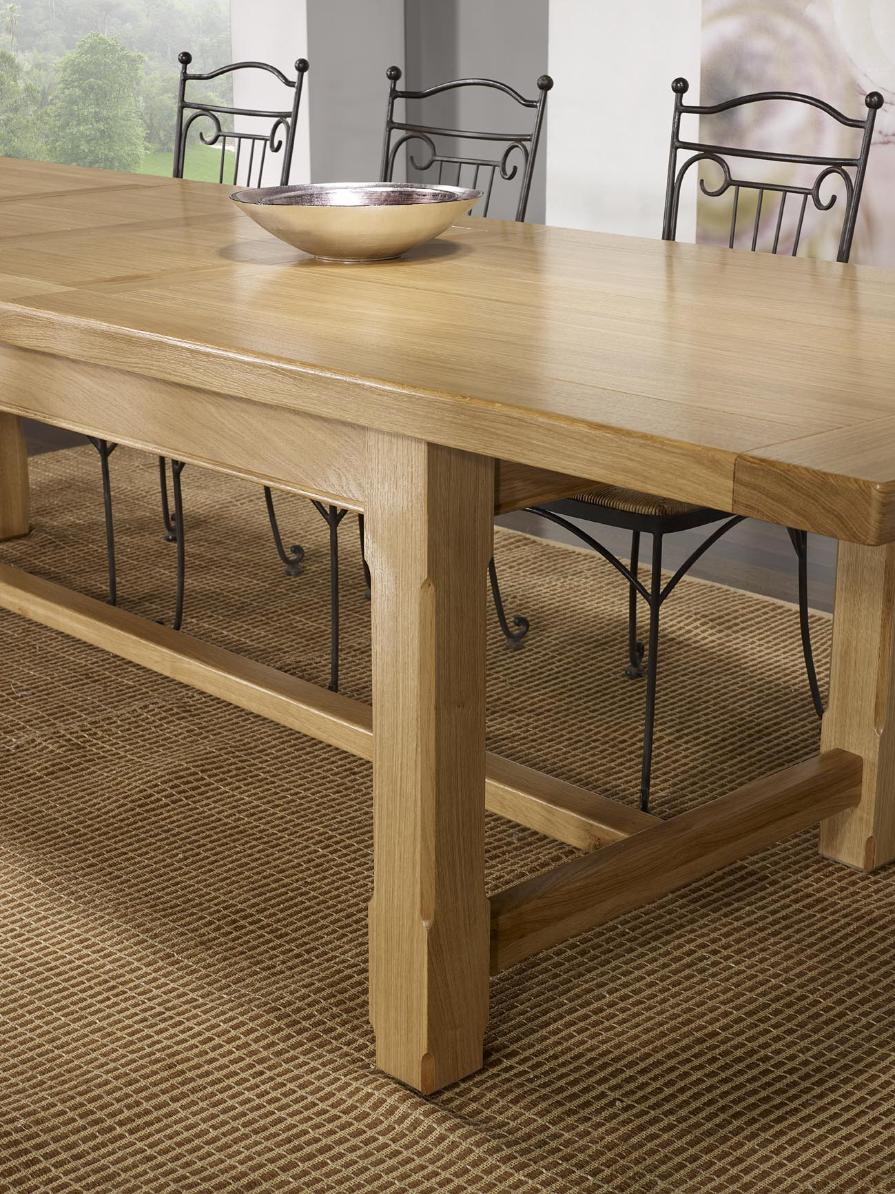 Table De Ferme Axel Realisee En Chene Massif 250x100 2 Allonges