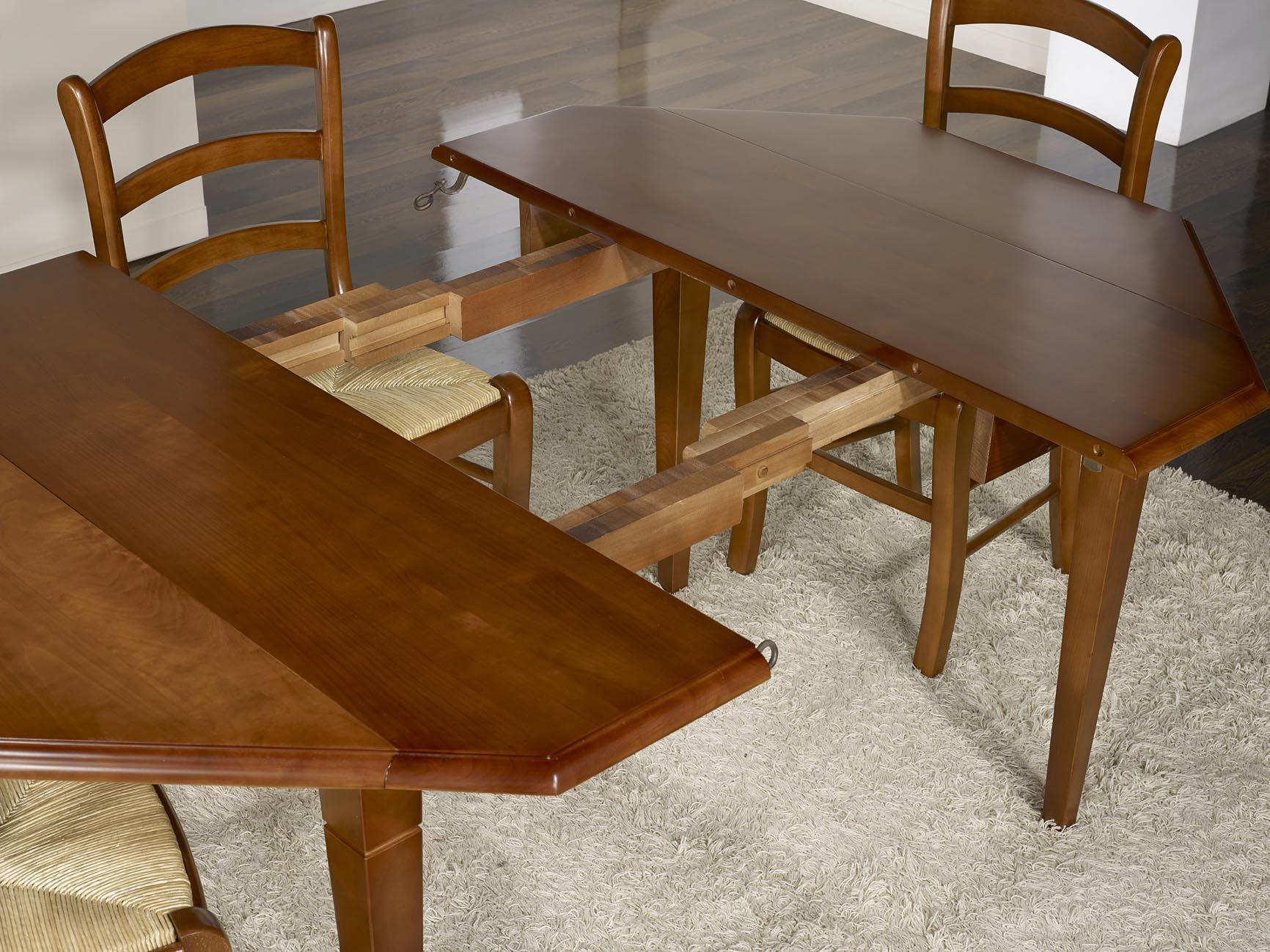 table volets octogonale 120x120 ralise en merisier massif 4 pieds fuseaux 2 allonges de 40 cm - Table Merisier Massif