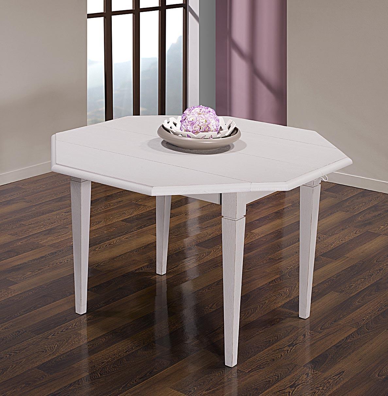 Table à Volets Octogonale 120x120 Réalisée En Chêne Massif 4 Pieds