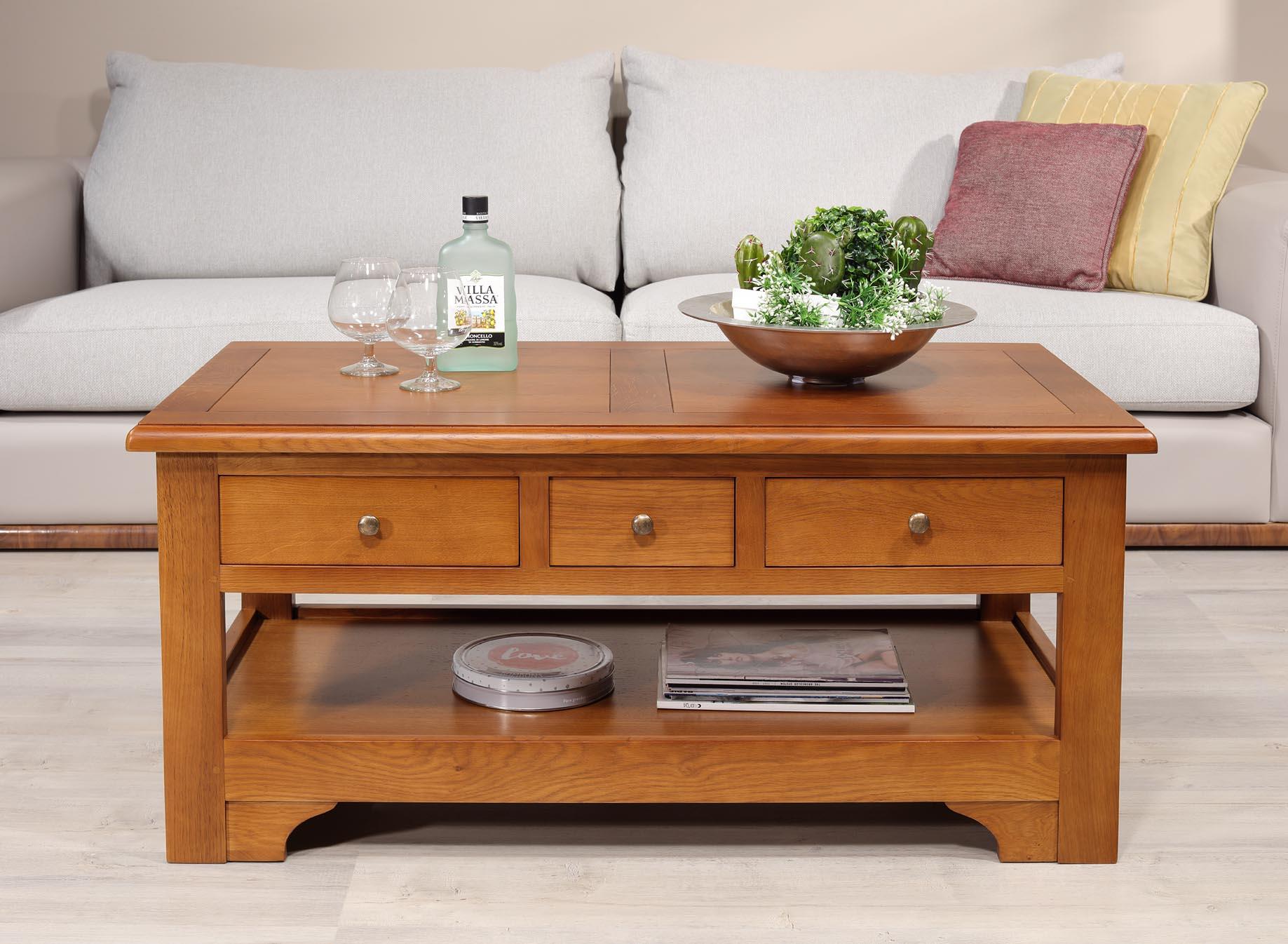 Table basse rectangulaire Jean-Baptiste  en chêne de style Louis Philippe Campagnard Finition chêne moyen SEULEMENT 1 DISPONIBLE