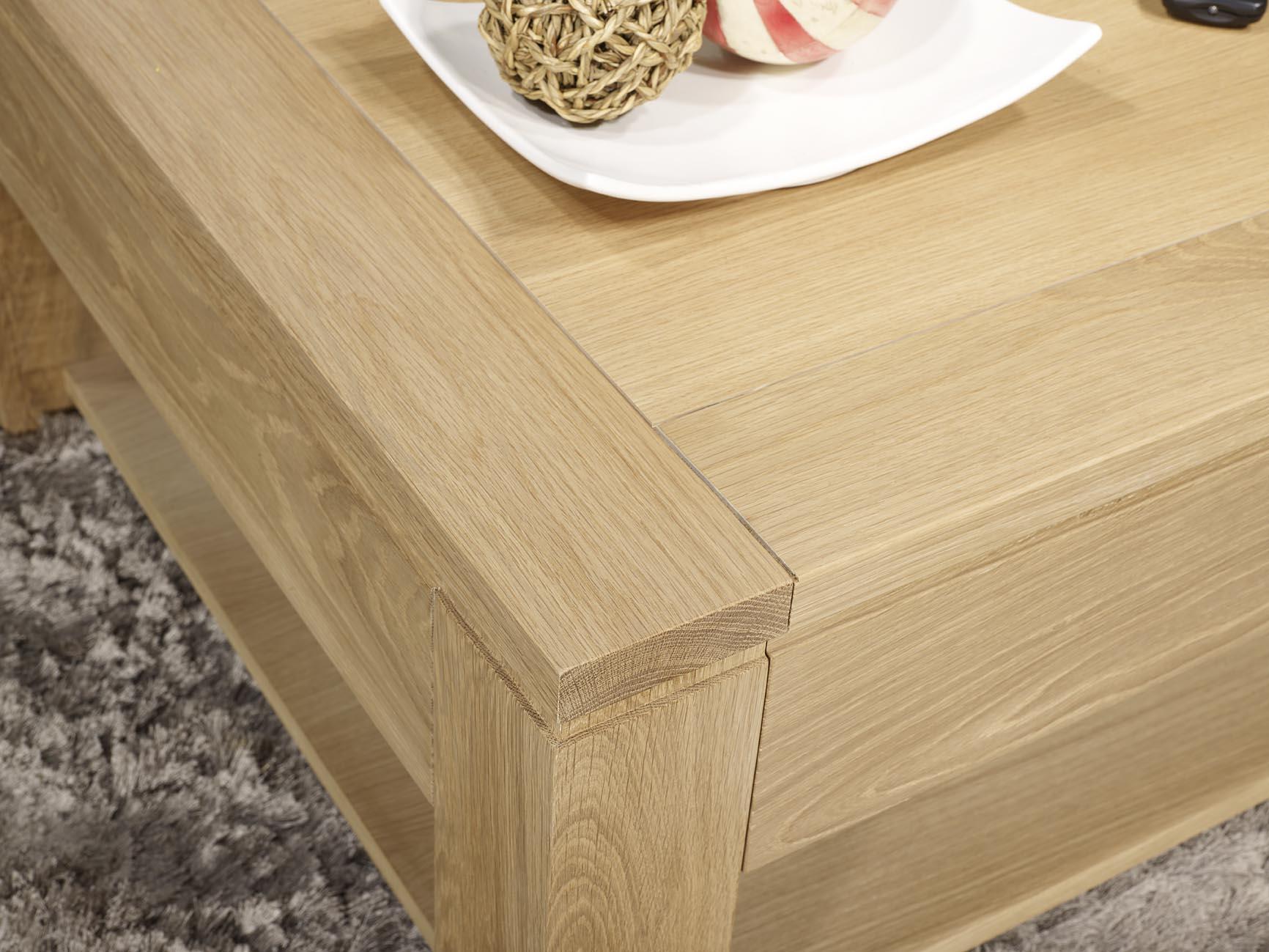 Table En Bois Chene Clair table basse jean-gabriel réalisée en chêne massif ligne contemporaine  finition chêne brossé