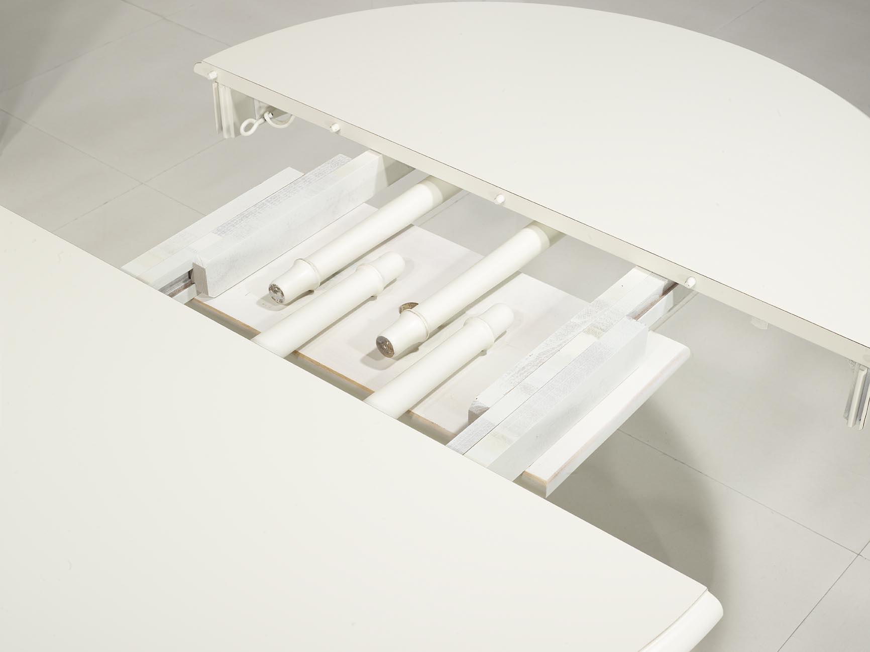 728493d8aee55 Table ronde pied central réalisée en Merisier Massif de style Louis  Philippe DIAMETRE 120 - 2 allonges de 40 cm Finition Ivoire