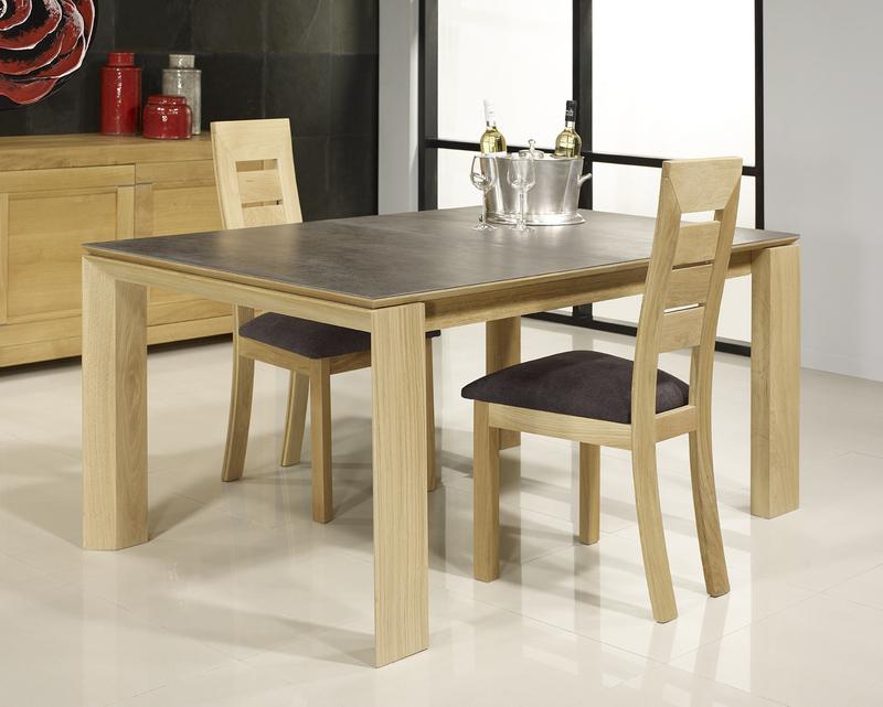 Table Rectangulaire Gaspard Realisee En Chene Plateau Ceramique 1