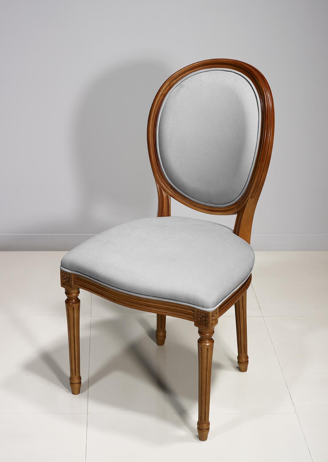 Chaise Emeline Ralise En Merisier Massif De Style Louis XVI Suedine Gris Clair