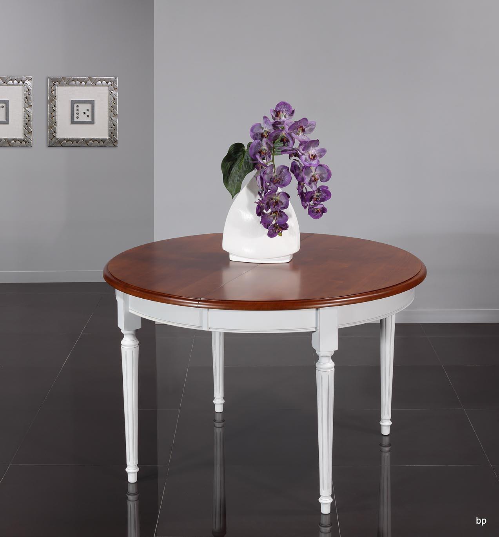 15577aafec561a Table ronde 4 pieds Diane, réalisée en Merisier Massif de style Louis XVI Diamètre  120 Ceinture et pieds patiné IVOIRE