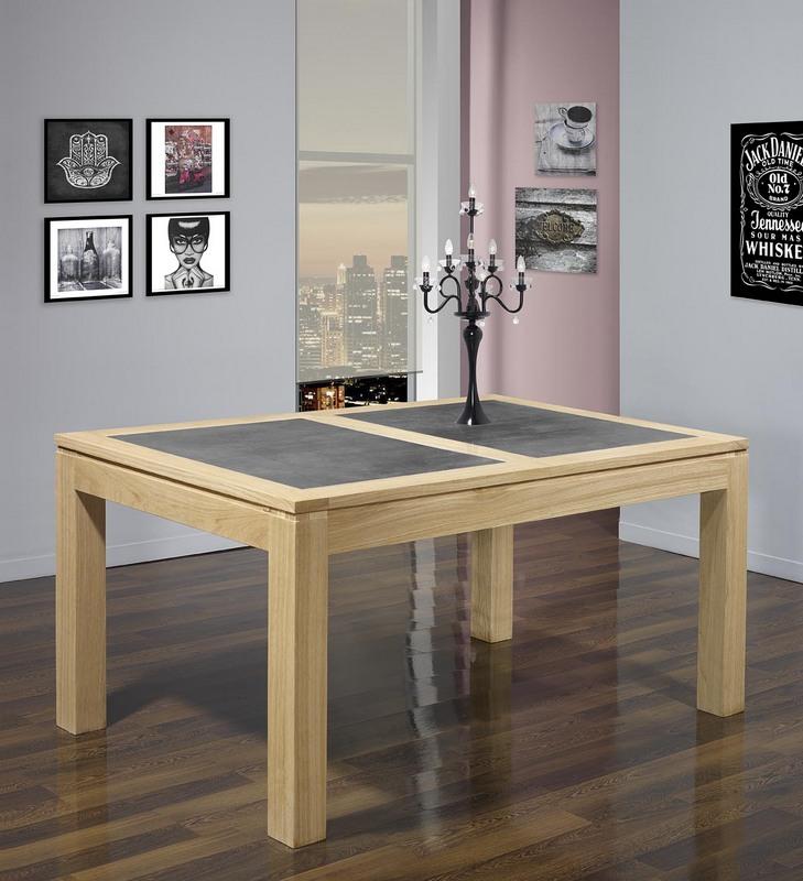 Table de repas rectangulaire 140X100 Mathéo  en Chêne Ligne Contemporaine Plateau avec céramique