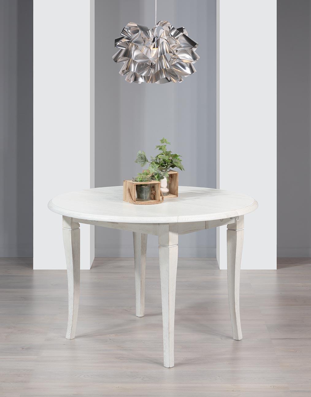 Table ronde à volets diamètre 120  en Chêne Massif 4 pieds sabres 2 allonges de 40 cm  Finition Chêne brossé Ivoire Patiné