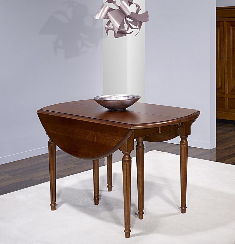 Table ronde à volets  en Chêne Massif de style Louis XVI Diamètre 120 - 3 allonges de 40 cm Finition Chêne Foncé Seulement 1