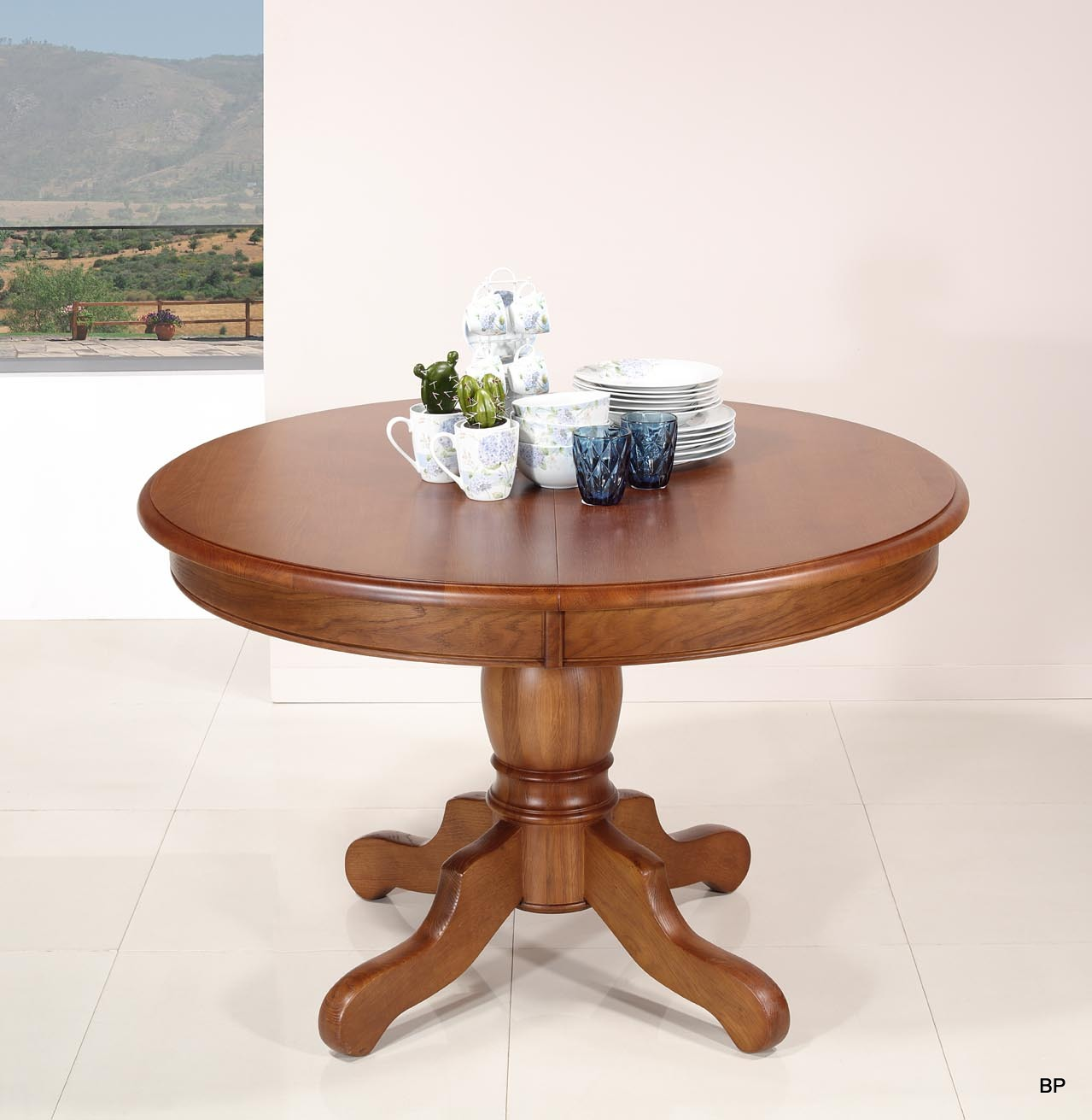 Table ronde pieds central  en Chêne de style Louis Philippe DIAMETRE 120 - 2 ALLONGES DE 40 CM