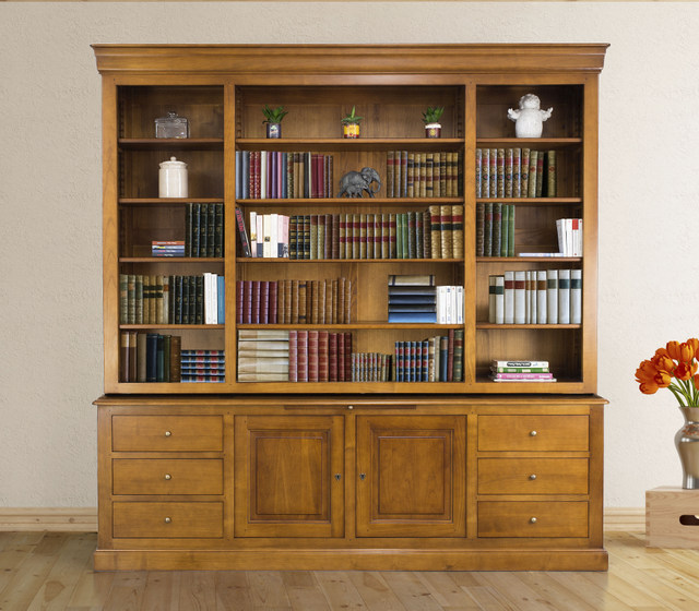 Bibliothèque 2 corps Mélanie en Merisier Massif de style Louis Philippe longueur 242 cm Patiné antik