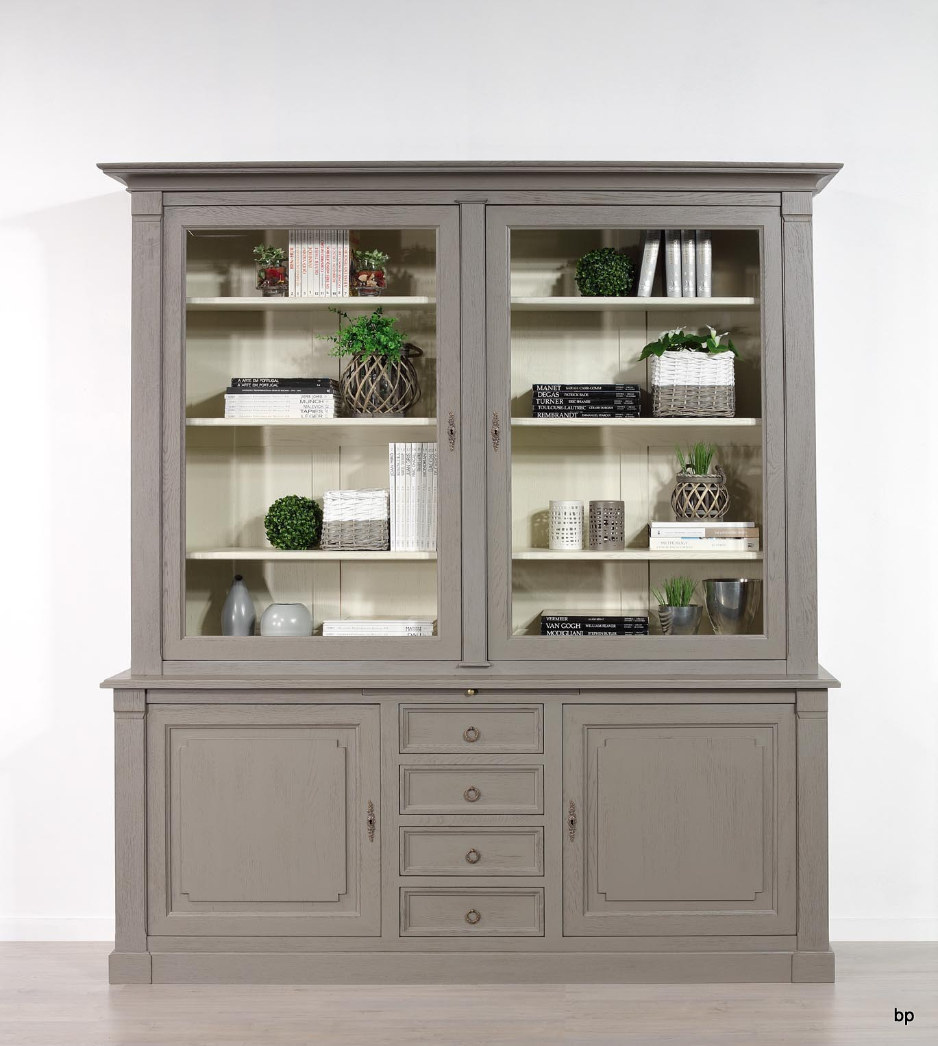 Bibliotheque 2 Corps Sacha Realisee En Chene De Style Directoire Patinee Taupe Et Lin Seulement 1 Disponible