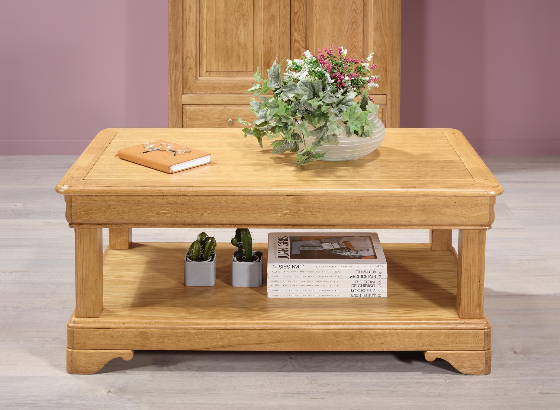 Grande Table Basse Bois table basse réalisée en chêne de style louis philippe 1 tiroir de chaque  coté seulement 1 disponible