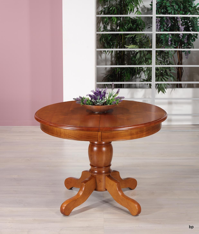 Table ronde pieds central Victoire de style Louis Philippe  en merisier massif diamètre 110