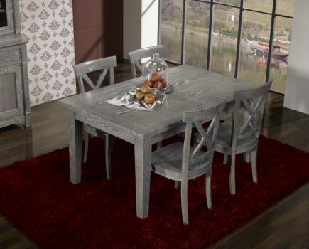 Table rectangulaire Collection Lisa 160x100  en chêne massif  2 allonges de 40 cm FINITION CHENE GRISE/BLANCHI ANTIQUAIRE