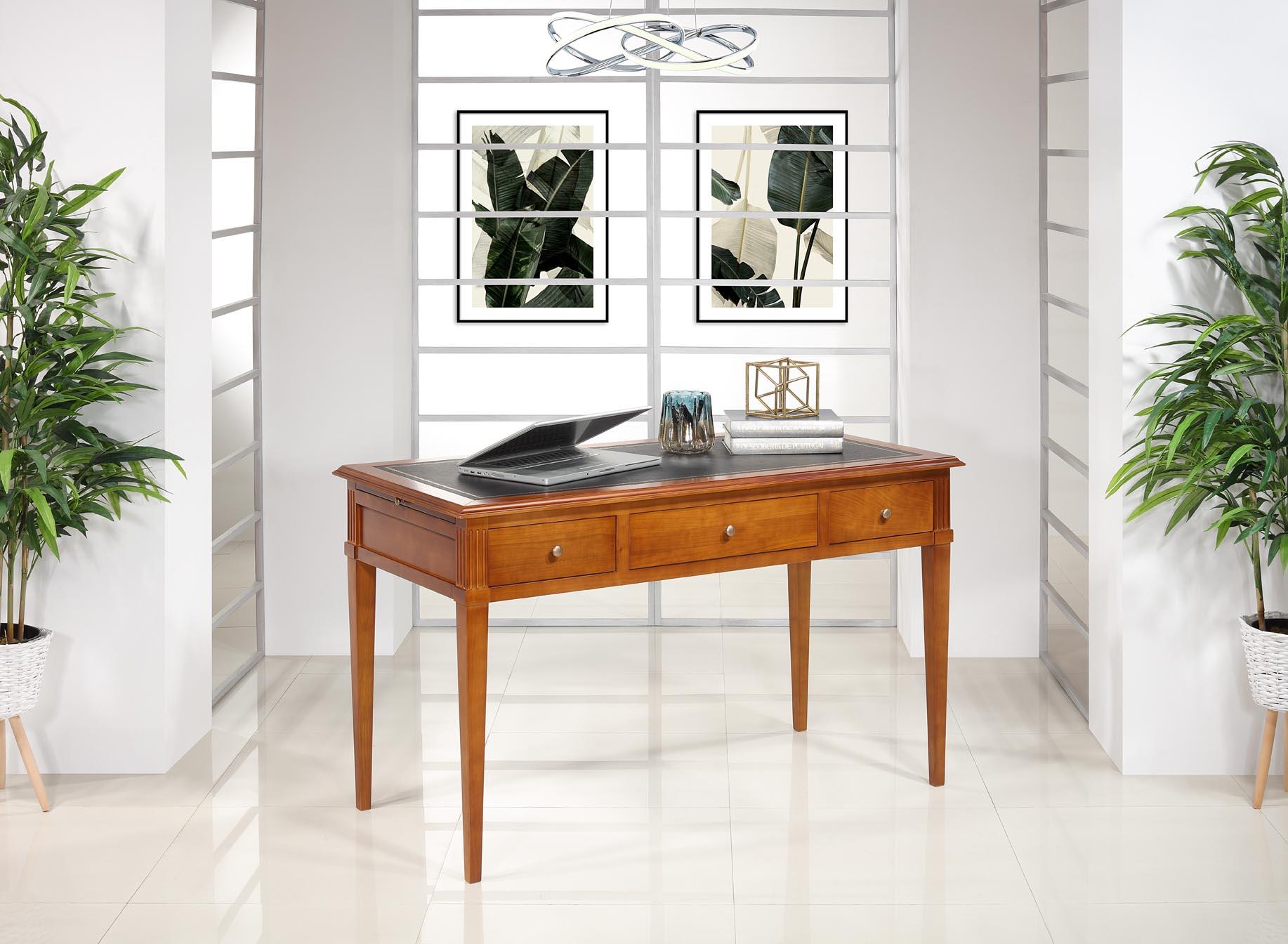 Bureau 3 tiroirs Agathe  en Merisier de style Directoire Surface d'écriture recouverte d'une moleskine noir