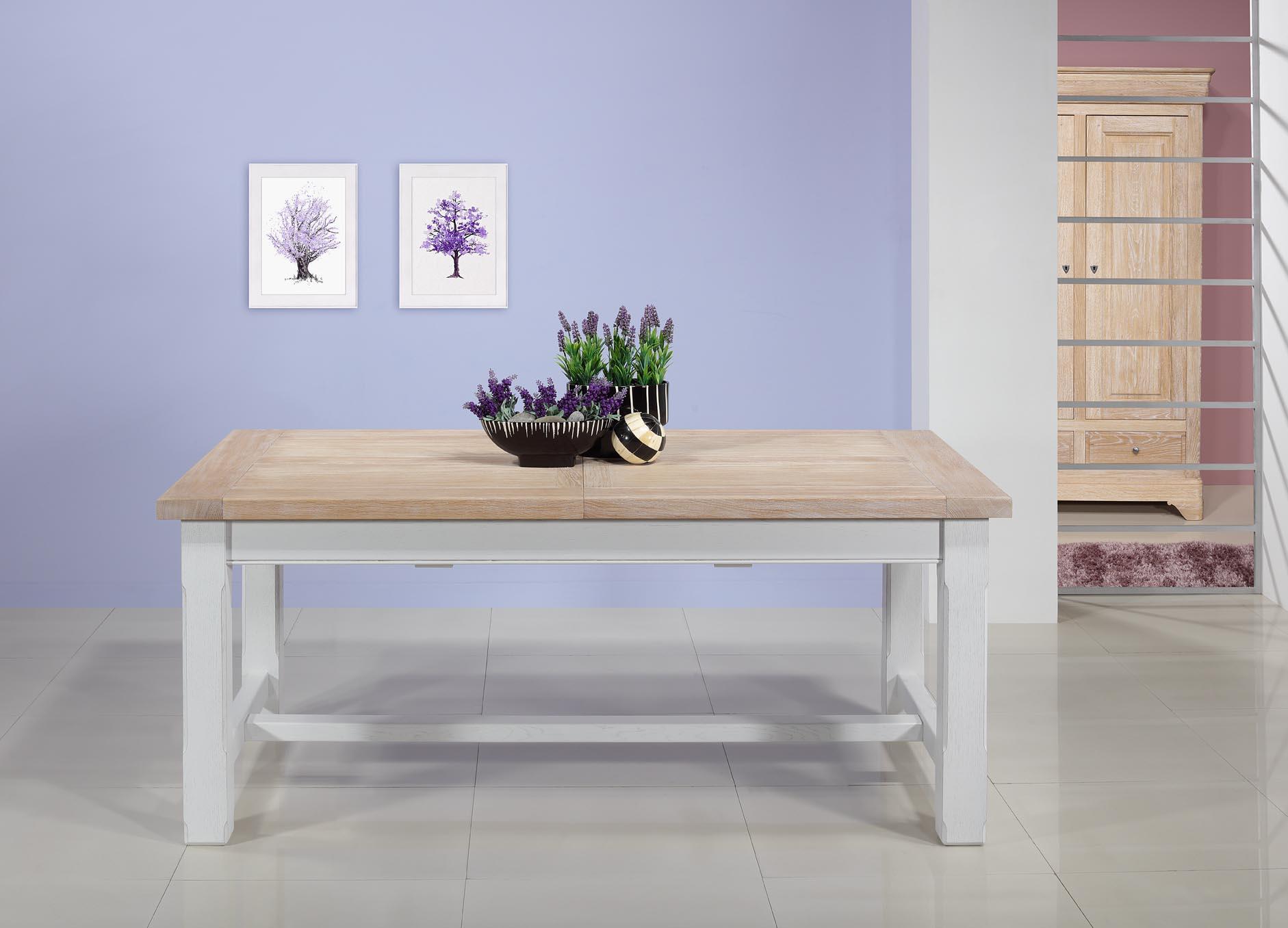 Table de ferme rectangulaire AXEL  en Chêne massif 160x100 + 2 allonges de 45 cm Finition chêne Brossé Blanchi et Ivoire