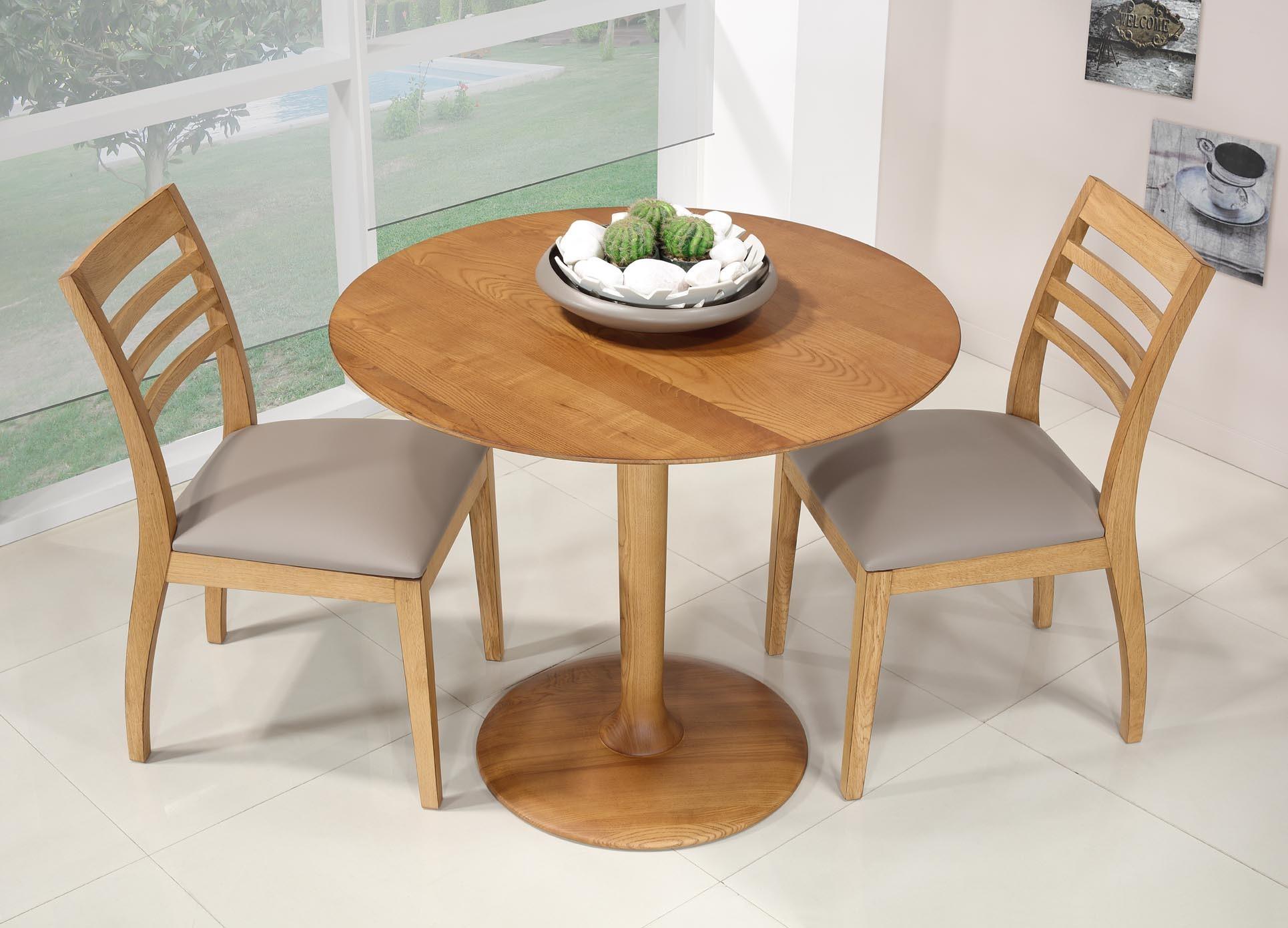 Petite Table Ronde Pieds Central Realisee En Frene Massif Diametre