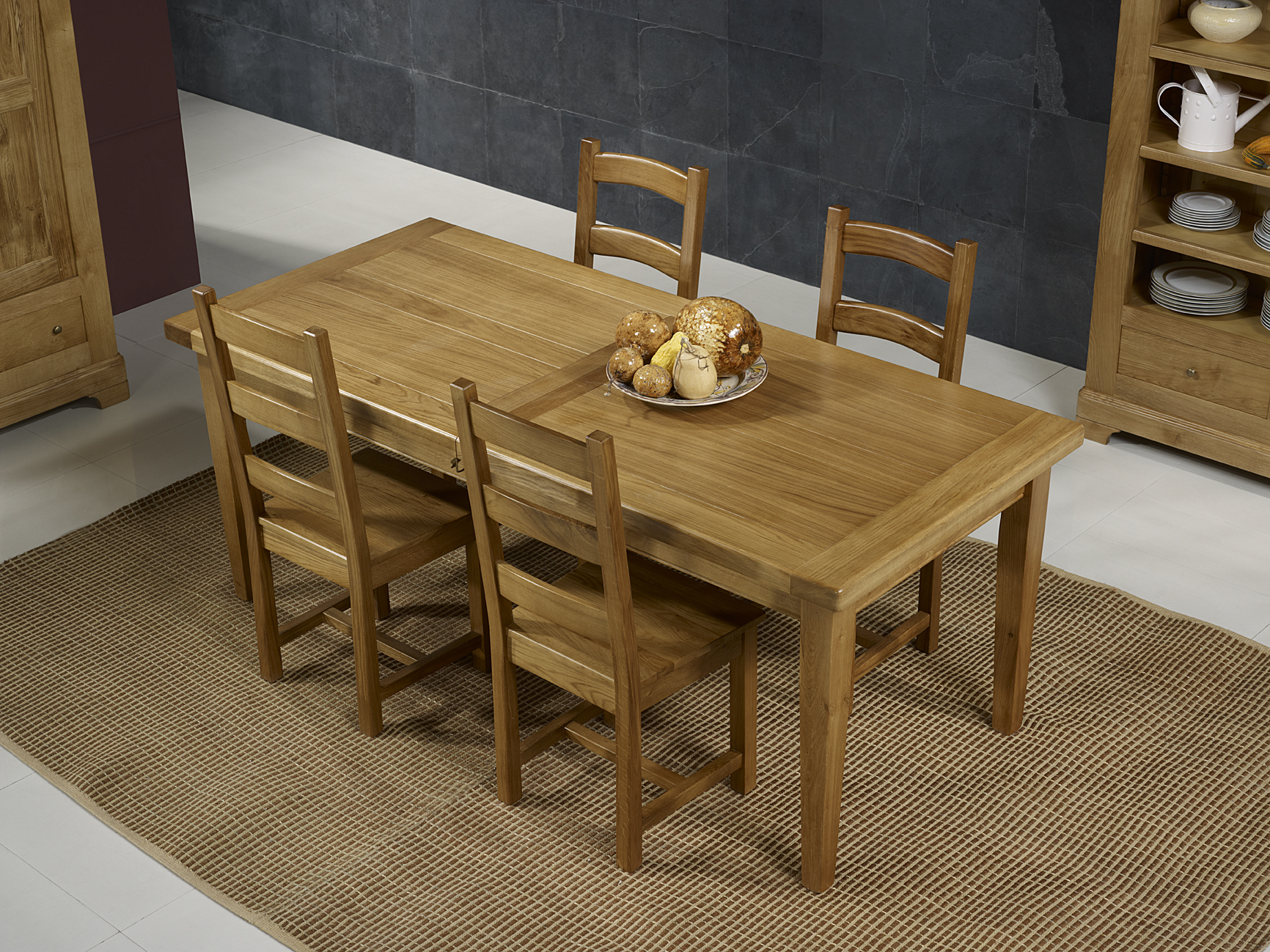Table de Ferme Rectangulaire Francois  en Chêne massif  180*90 + 2 allonges de 45 cm