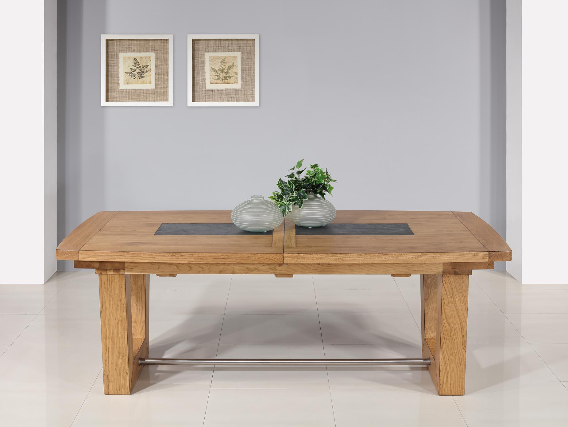 Table rectangulaire  220x110  en Chêne Massif 4 allonges de 40 cm (4 mètres avec ses allonges)