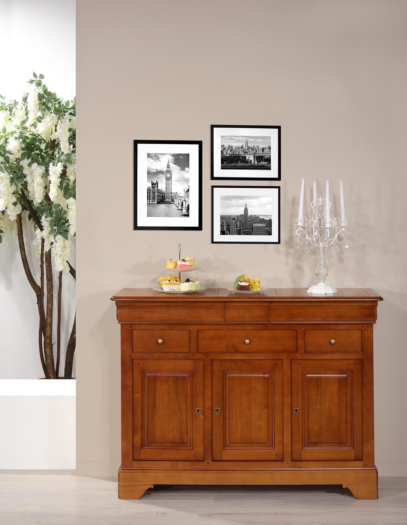 Buffet 3 portes 6 tiroirs Laure  en merisier massif de style Louis Philippe
