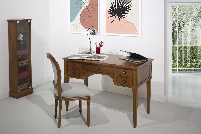 Bureau 5 tiroirs Julia   en merisier massif de style Directoire Longueur 120 cm