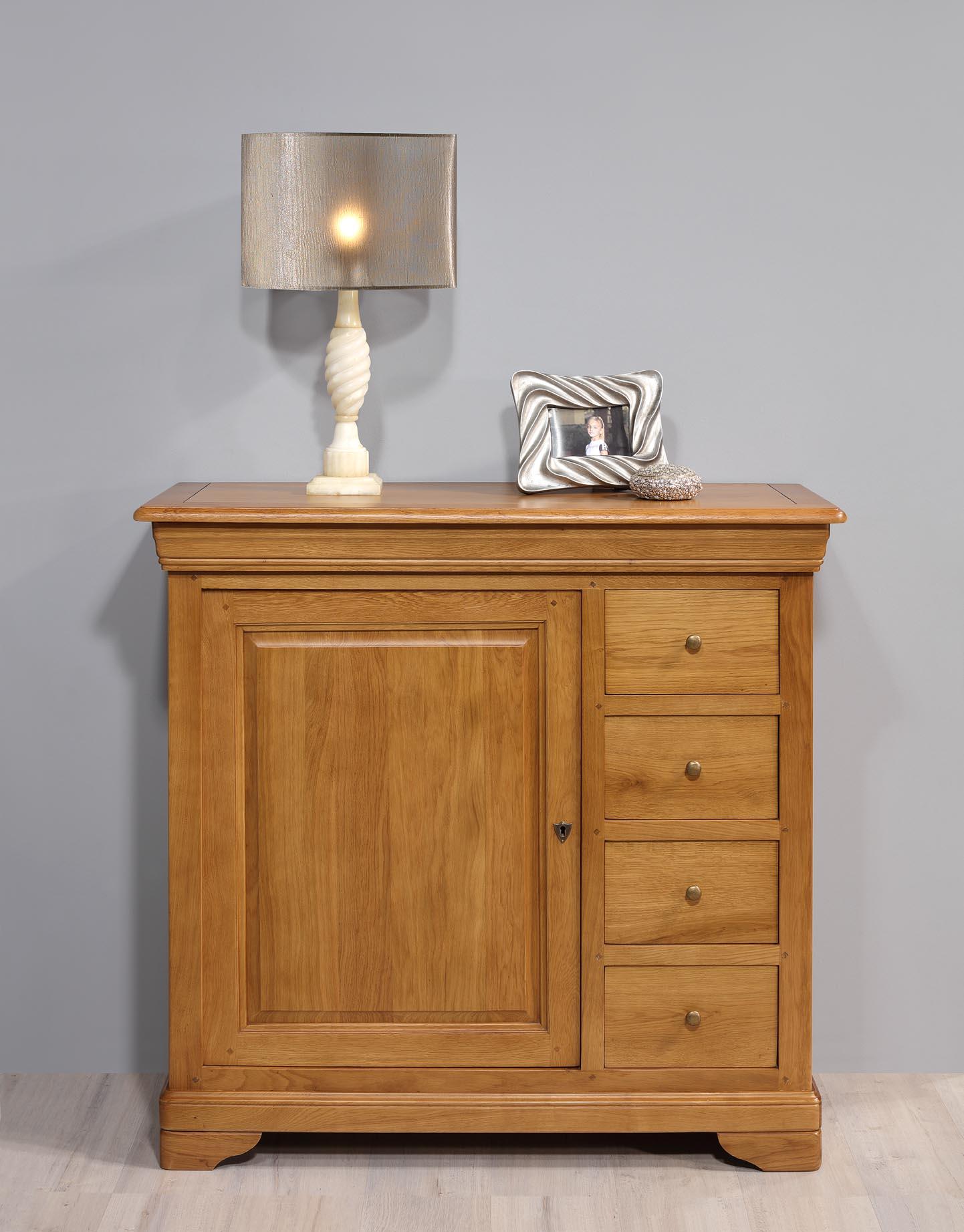 Meuble de rangement 1 porte 5 tiroirs Jean  en Chêne Massif de style Louis Philippe Longueur 110 cm