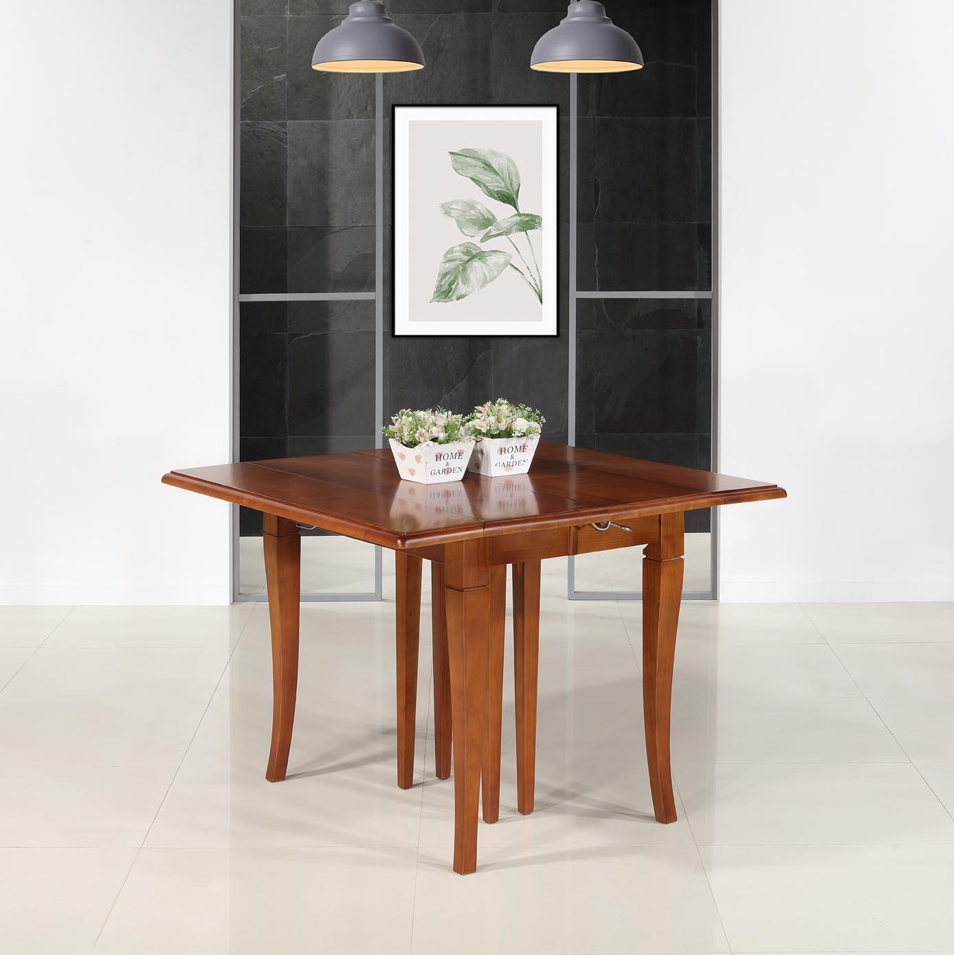 Table carrée à volets Giulia 105x105  en merisier de style Louis Philippe - allonges de 40 cm