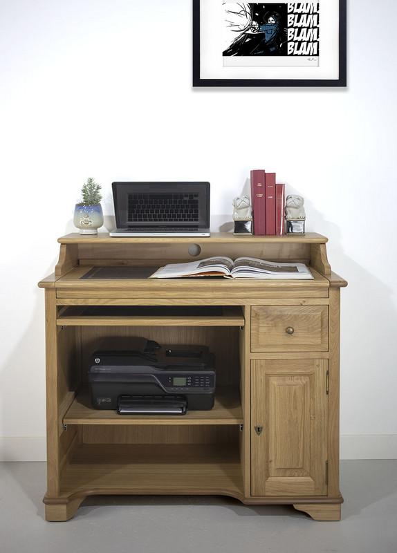 Petit Bureau informatique Emeric  en Chêne de style Louis Philippe Finition Chêne naturel Surface d'écriture noire (photographies)
