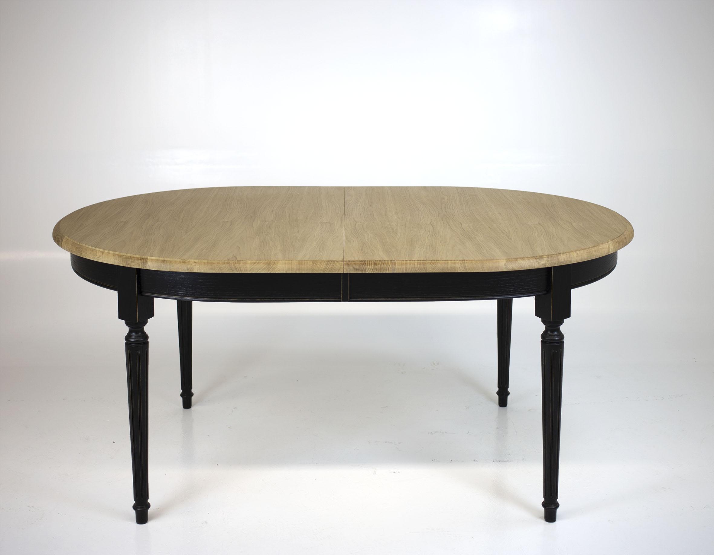 Table ovale 170*110 Mona  en Chêne Massif de style Louis XVI 3 allonges de 40 cm Finition Chêne Brossé SEULEMENT 1 DISPONIBLE