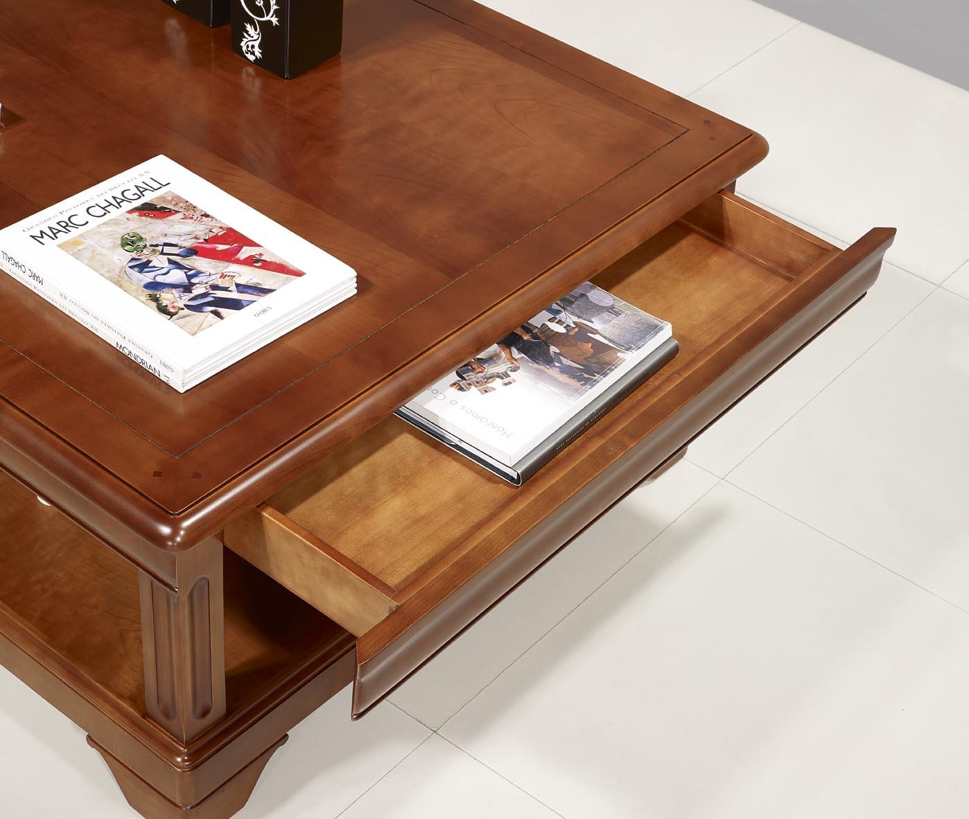 Table En Réalisée Basse Merisier Philippe Anna Louis Carrée De Style dxeCBo