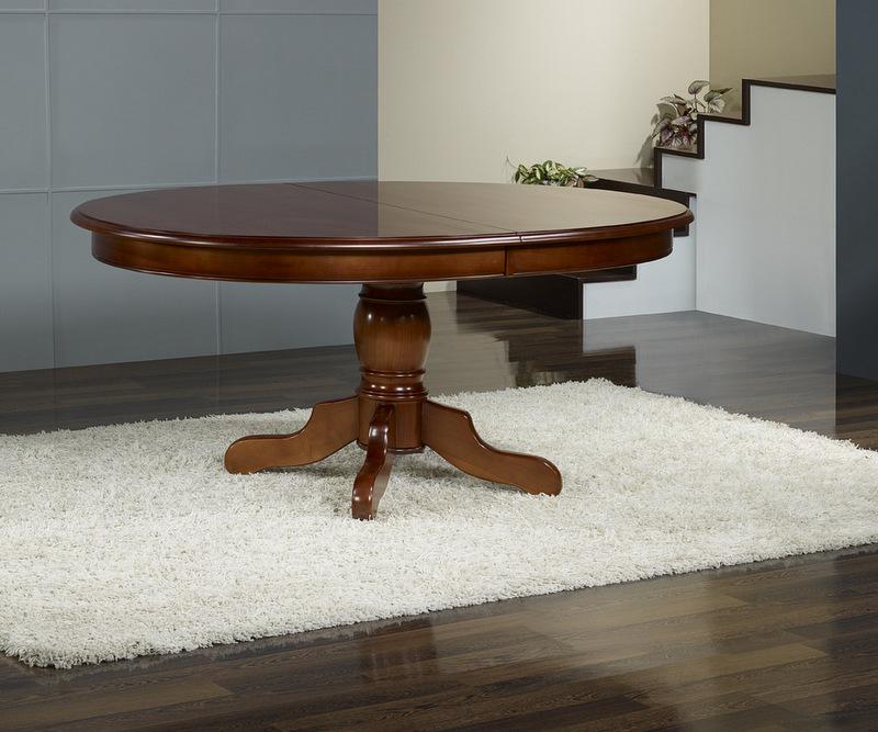 table ovale pieds central ralise en merisier massif 160x120 4 allonges de 40 cm - Table Merisier Massif