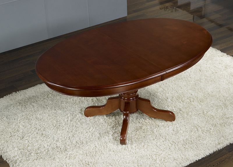 Table Ovale Pieds Central Realisee En Merisier Massif 160x120 4