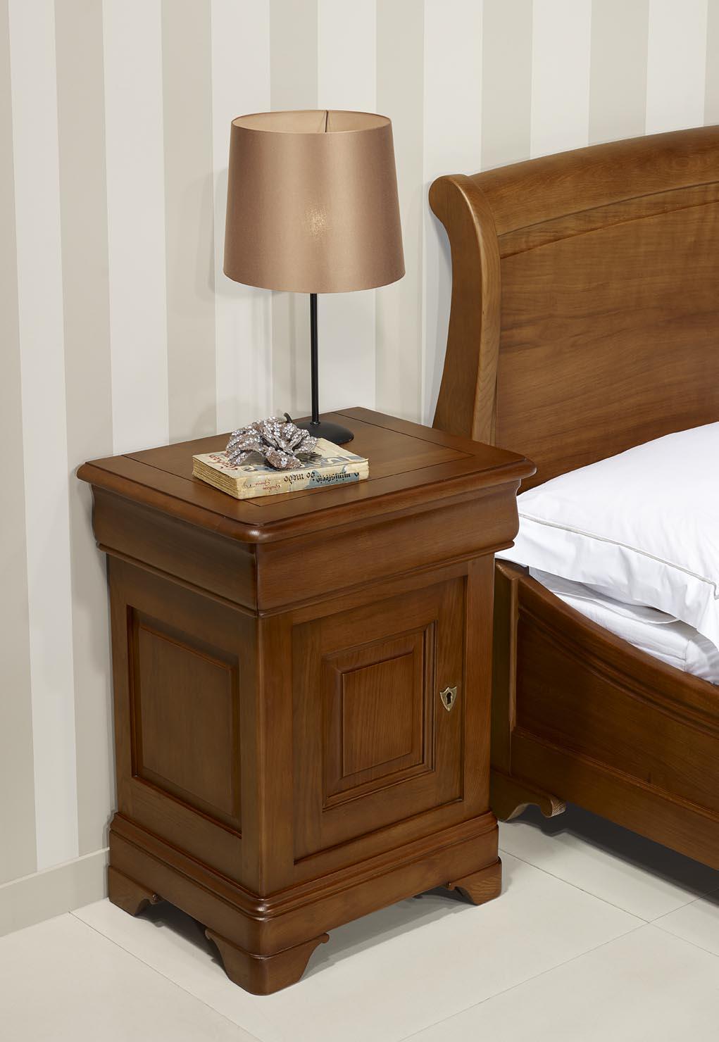 Chevet 1 porte 1 tiroir Hugo  en Chêne Massif de style Louis Philippe Finition Chêne Moyen