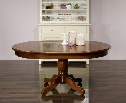 Table ovale pied central Annie 160x120 réalisée en Merisier de style Louis Philippe Plateau marqueté