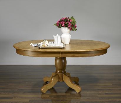 Table ovale pied central Fredéric 160x120  en Chêne de style Louis Philippe PLATEAU MARQUETE