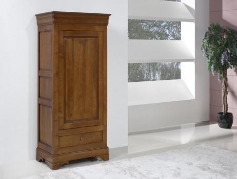 Bonnetière 1 porte 1 tiroir Anna réalisée en merisier massif de style Louis Philippe