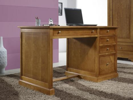 Bureau 5 tiroirs Jeanne  en Merisier de style Louis Philippe