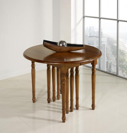Table ronde à volets  DIAMETRE 120  en Merisier massif de style Louis Philippe 10 allonges de 40 cm