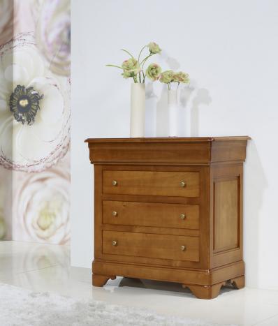 Petite Commode 4 tiroirs Emma réalisée en Merisier Massif de style Louis Philippe