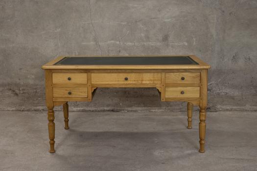 Bureau ministre 5 tiroirs hugo réalisé en chêne massif de style louis philippe finition chêne doré patine antiquaire (vieillissement du bois)